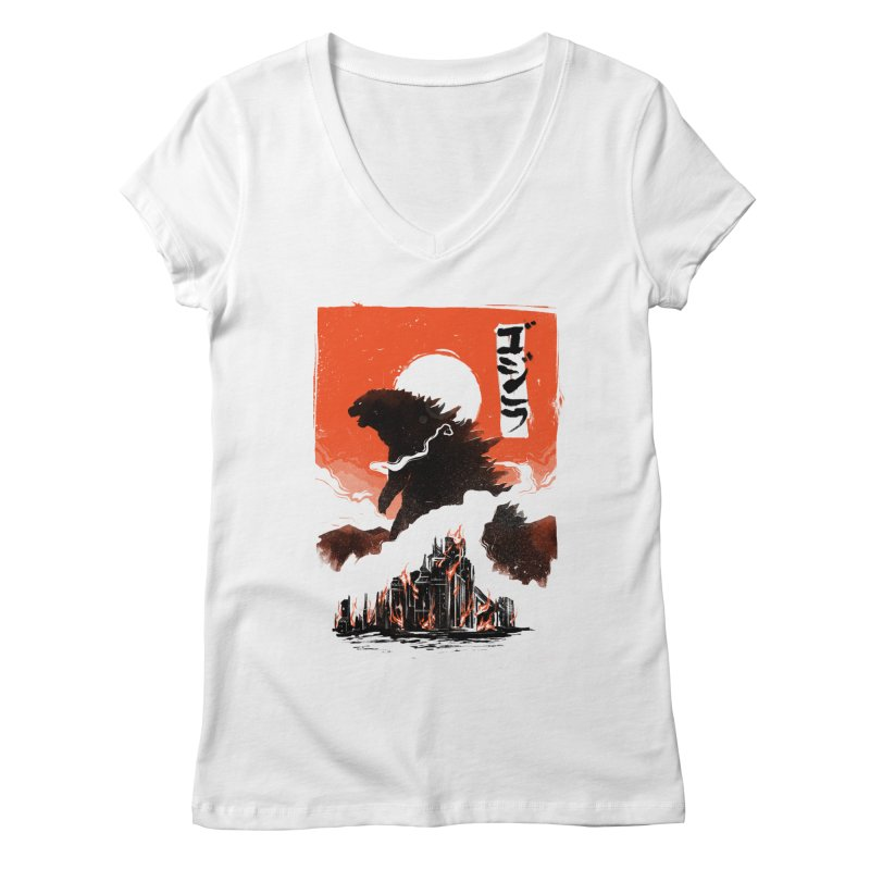 Godzilla Women's V-Neck by MB's Tees