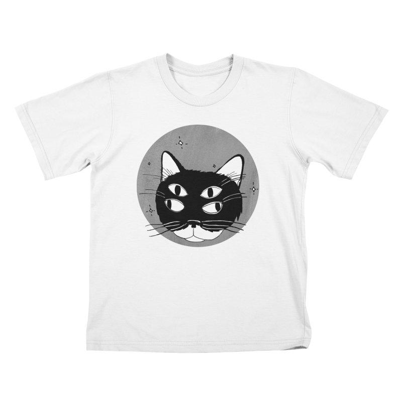Cat Eyes in Kids T-Shirt White by marielashlinn's Artist Shop