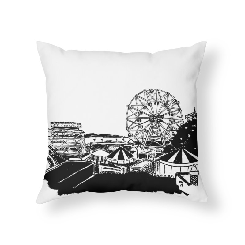 Coney Island in Throw Pillow by marielashlinn's Artist Shop