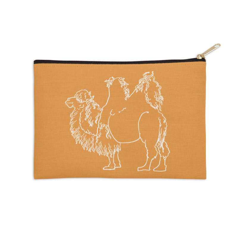 Bactrian Camel - White Lines and Color Edition Accessories Zip Pouch by Marie Angoulvant's Shop