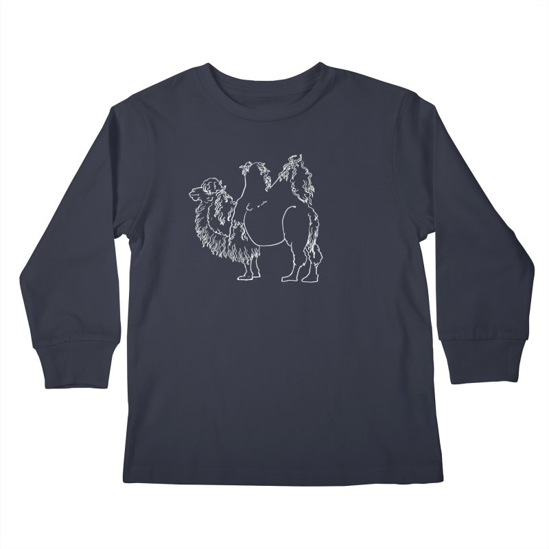 Bactrian Camel - White Lines and Color Edition Kids Longsleeve T-Shirt by Marie Angoulvant's Shop
