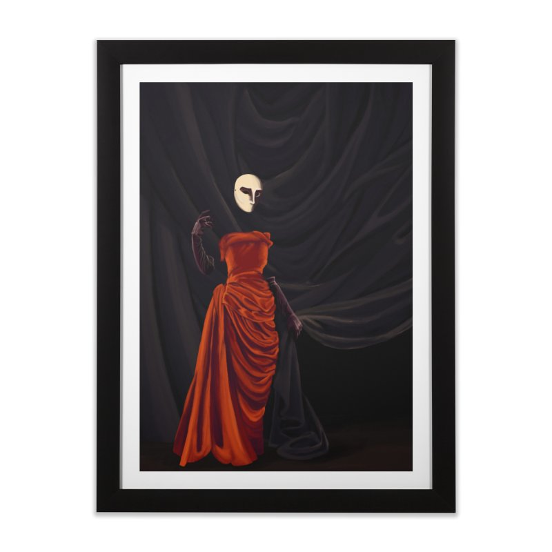 Red Dress Home Framed Fine Art Print by Marie Angoulvant's Shop