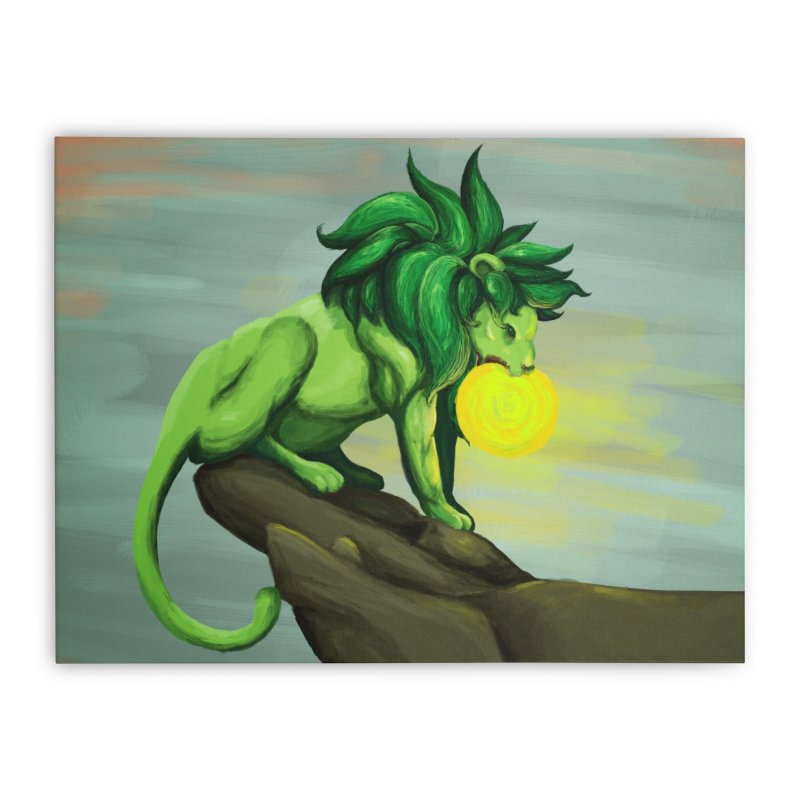 Green Lion Eating The Sun Home Stretched Canvas by Marie Angoulvant's Shop