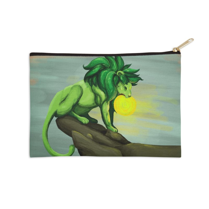 Green Lion Eating The Sun Accessories Zip Pouch by Marie Angoulvant's Shop