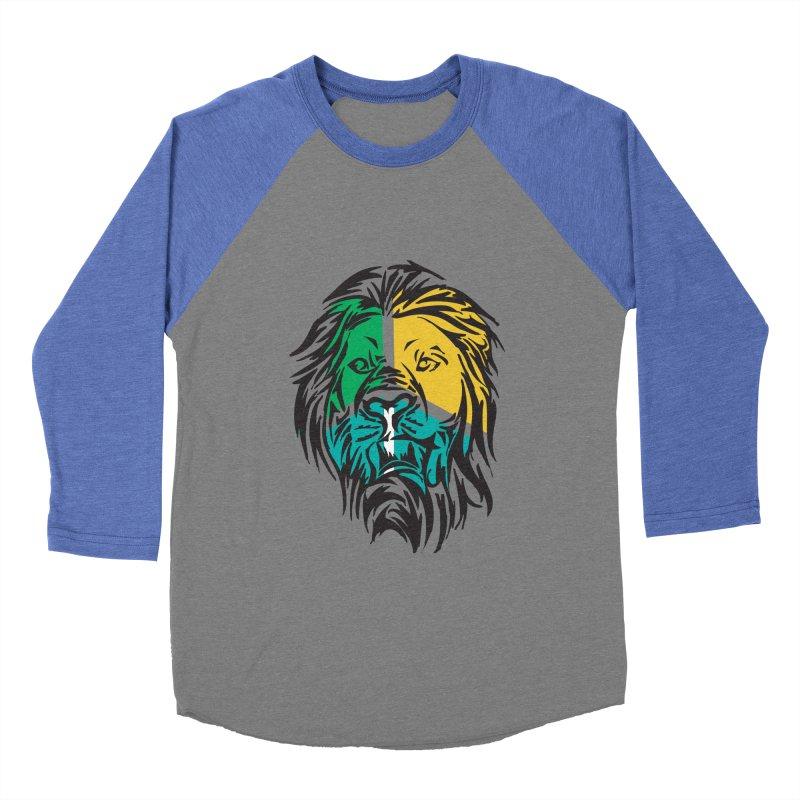 LionFace Women's Baseball Triblend T-Shirt by marilcha's Artist Shop