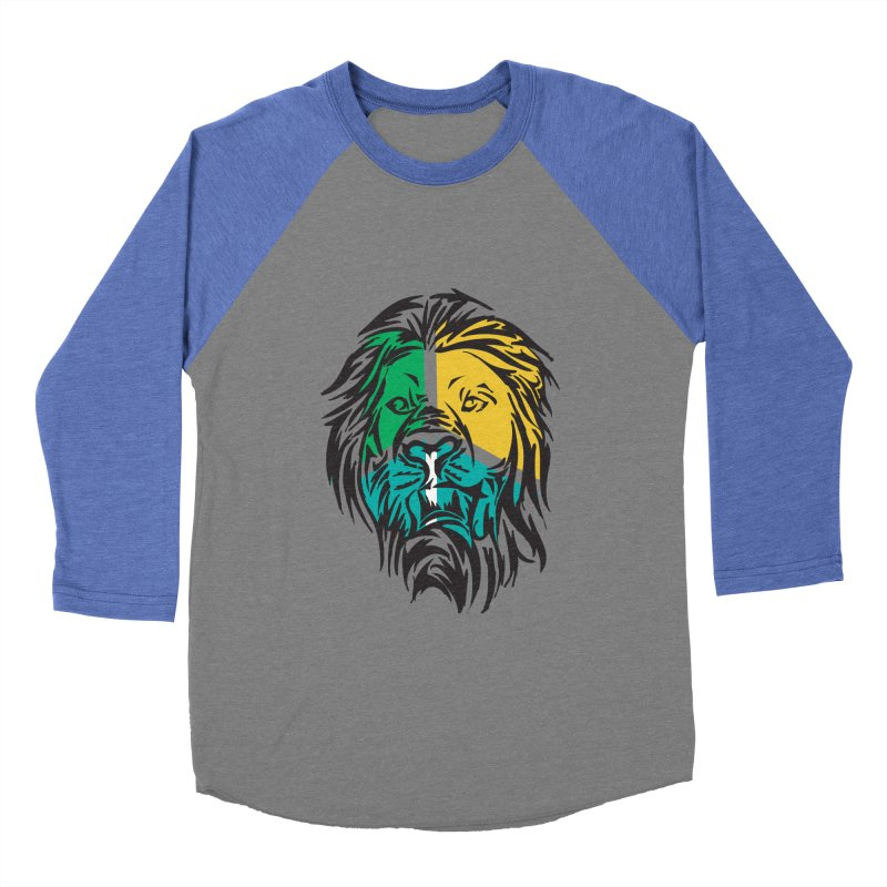 LionFace Men's Baseball Triblend T-Shirt by marilcha's Artist Shop