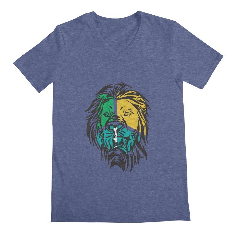 LionFace Men's V-Neck by marilcha's Artist Shop