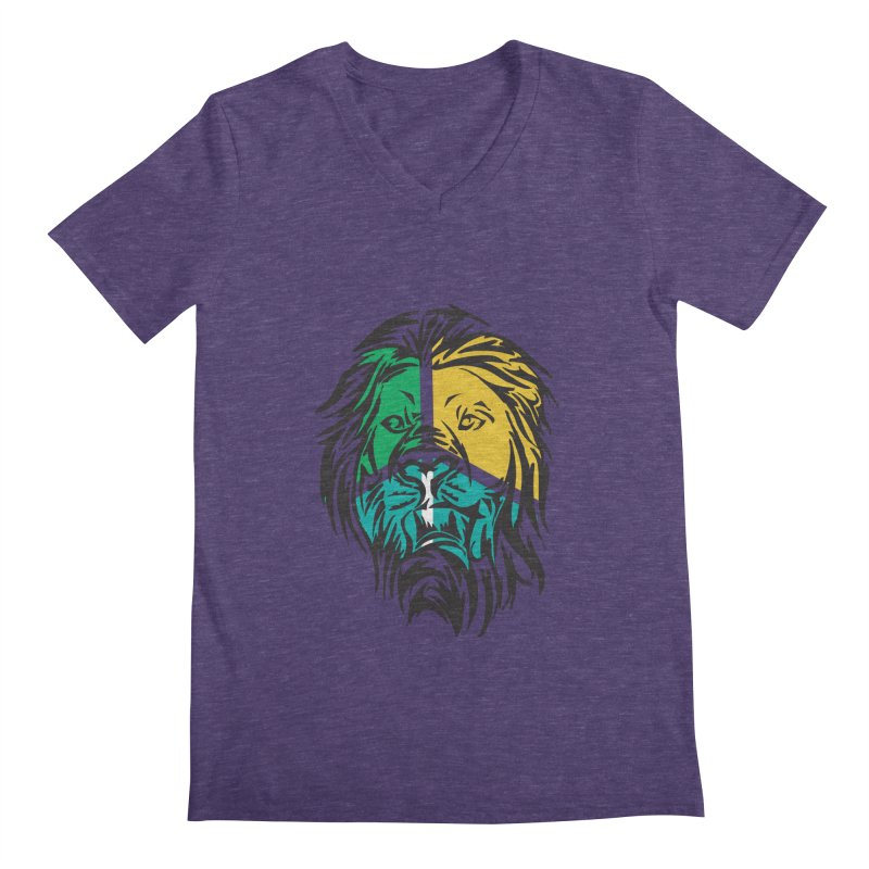 LionFace Men's V-Neck by marilcha's Artist Shop