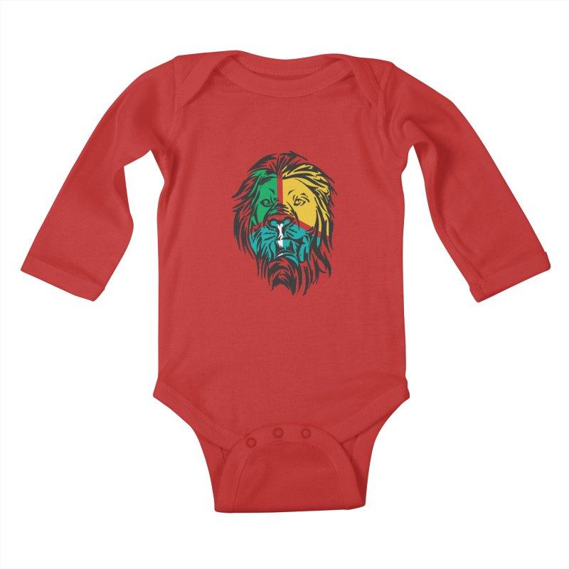 LionFace Kids Baby Longsleeve Bodysuit by marilcha's Artist Shop