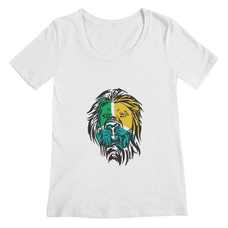 LionFace Women's Scoopneck by marilcha's Artist Shop
