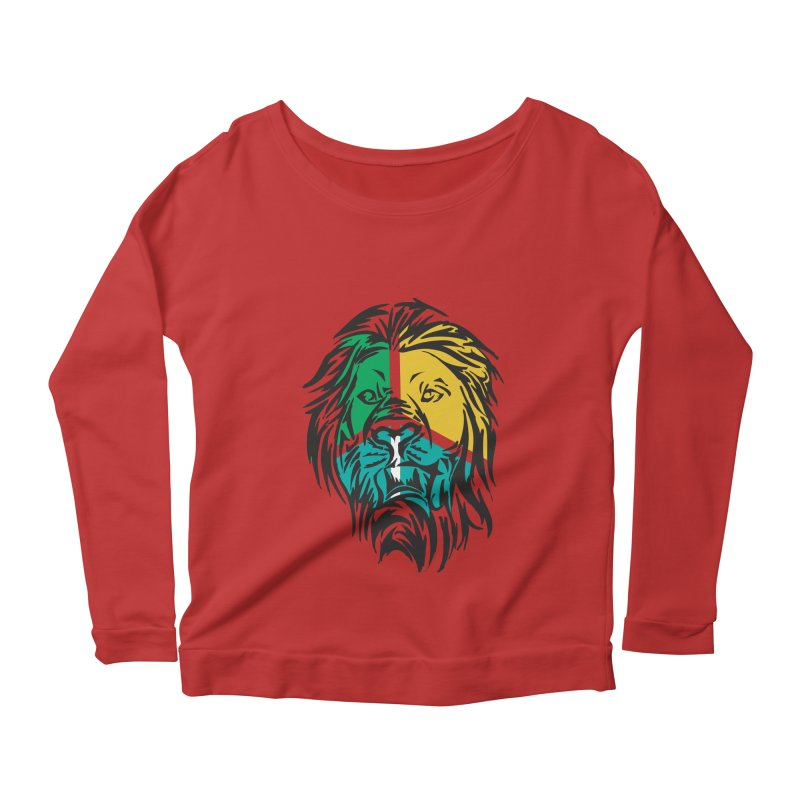 LionFace Women's Longsleeve Scoopneck  by marilcha's Artist Shop