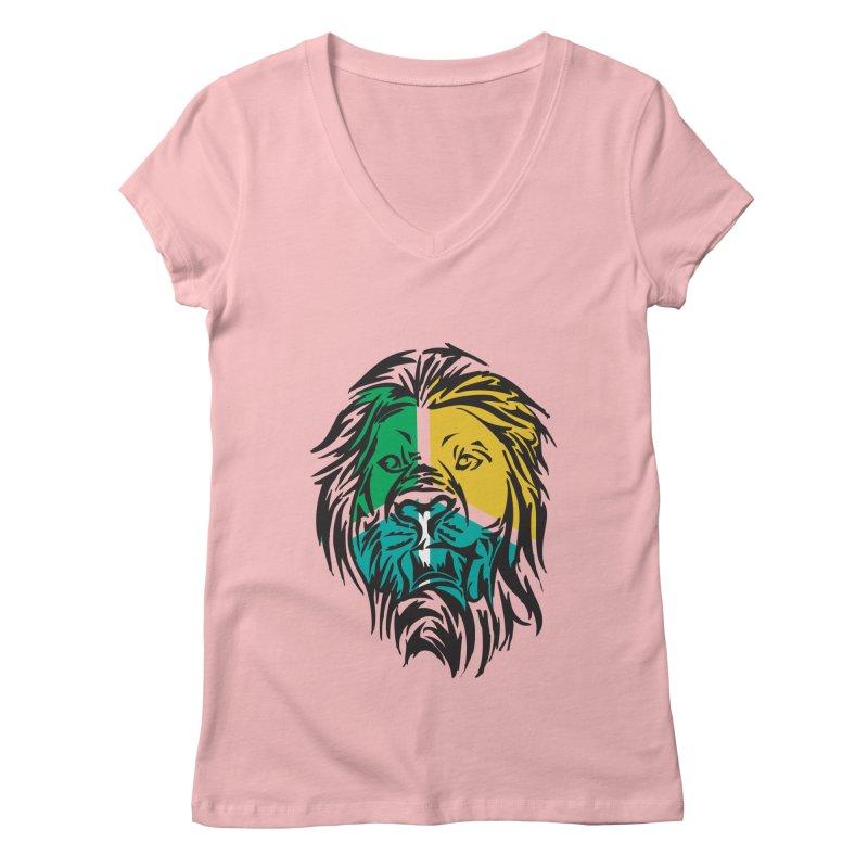 LionFace Women's V-Neck by marilcha's Artist Shop