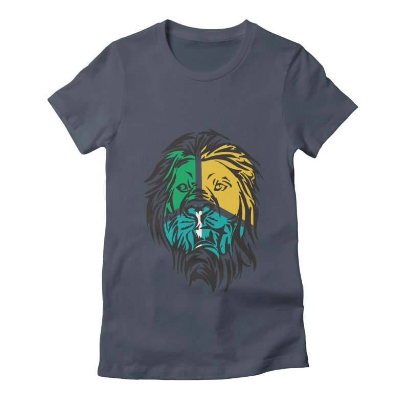 LionFace Women's Fitted T-Shirt by marilcha's Artist Shop