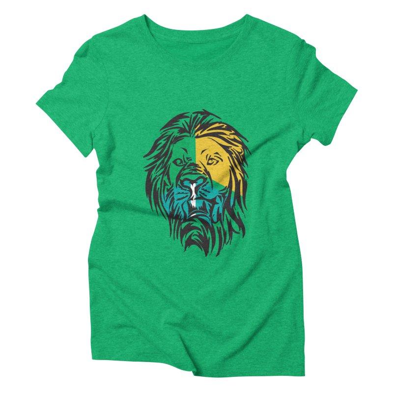 LionFace Women's Triblend T-Shirt by marilcha's Artist Shop