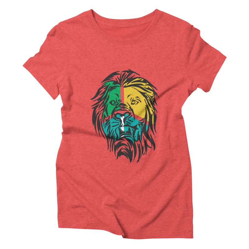LionFace Women's Triblend T-Shirt by marilcha's Artist Shop