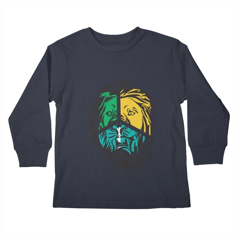 LionFace Kids Longsleeve T-Shirt by marilcha's Artist Shop