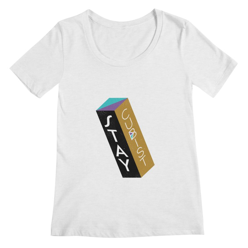 Stay Cubist Prism Women's Regular Scoop Neck by Mario Carpe Shop
