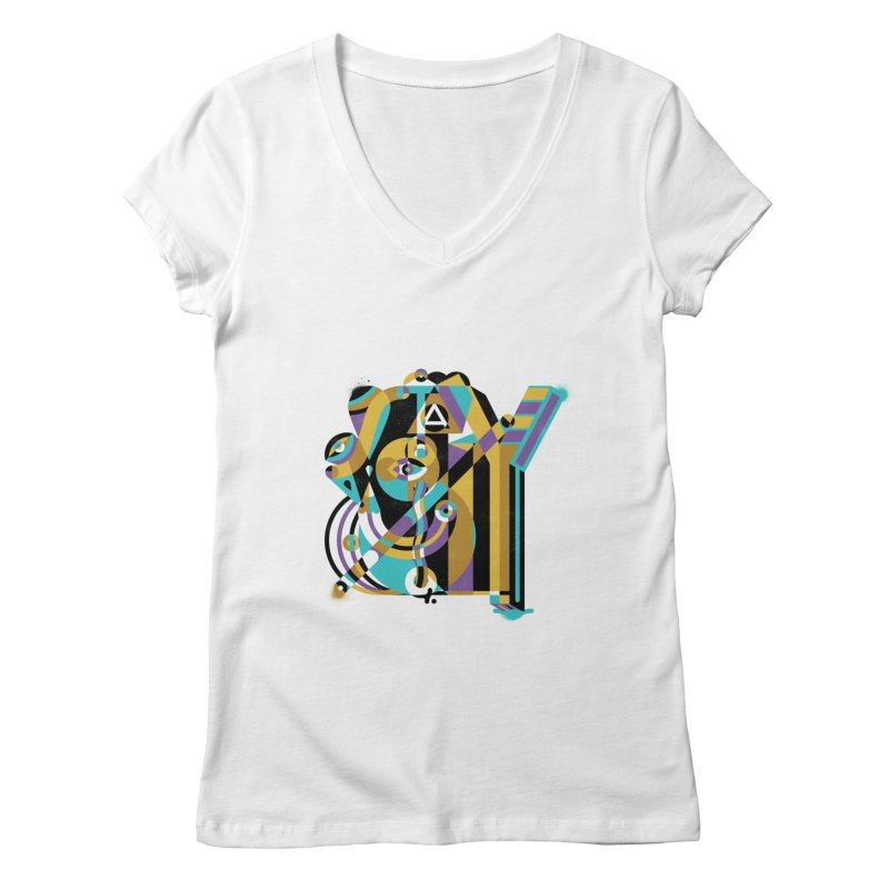 Stay Cubist Women's V-Neck by Mario Carpe Shop