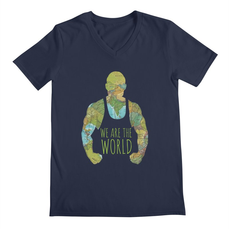 We Are The World Men's V-Neck by Made by MAD