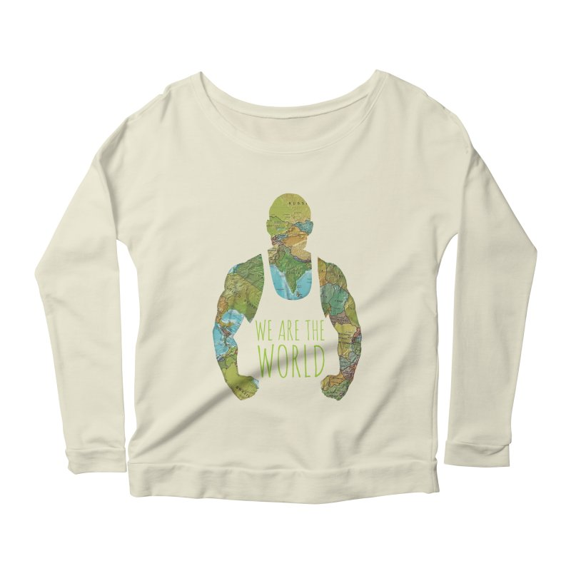 We Are The World Women's Longsleeve Scoopneck  by Made by MAD