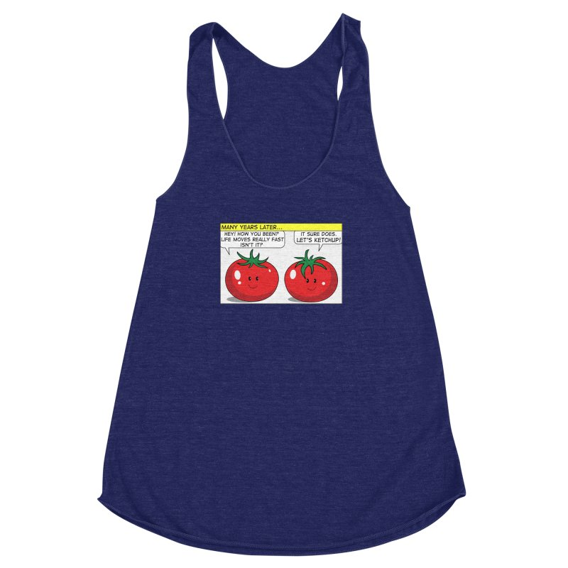 Let's Ketchup! Women's Racerback Triblend Tank by Made by MAD