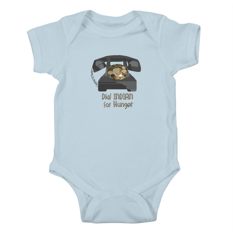 Dial INDIAN for Hunger Kids Baby Bodysuit by Made by MAD
