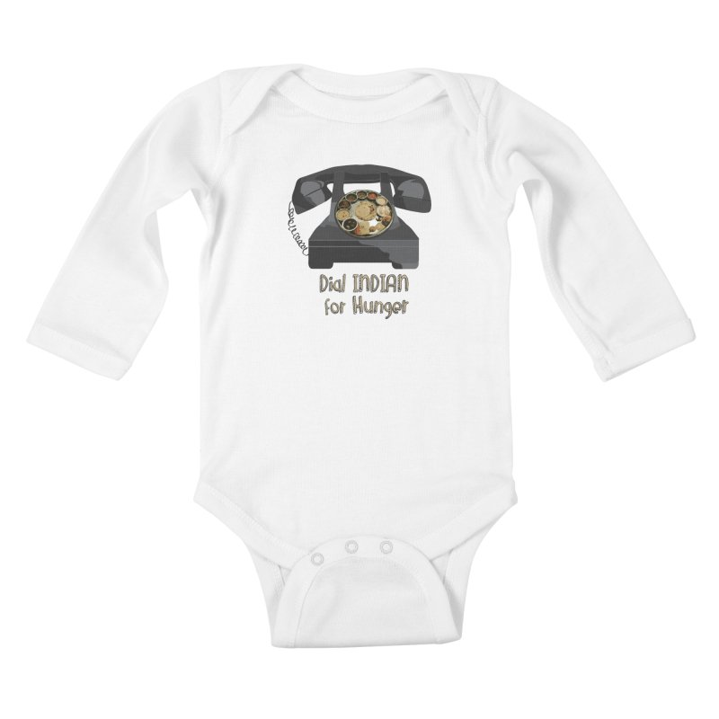 Dial INDIAN for Hunger Kids Baby Longsleeve Bodysuit by Made by MAD