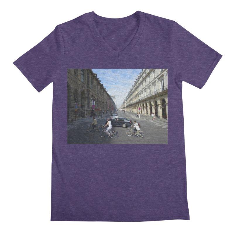 Paris in Splits Men's Regular V-Neck by Made by MAD