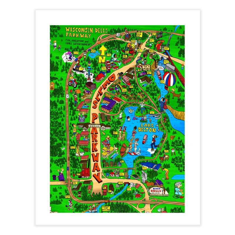 Hand Drawn Wisconsin Dells Retro Map Home Fine Art Print by Bits By Bacon