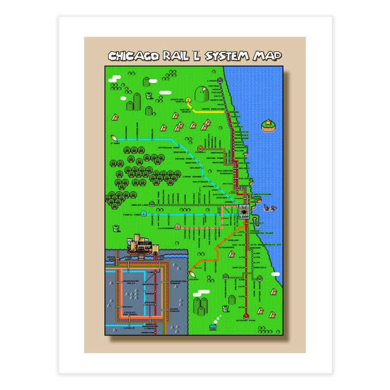 Chicago Super Mario World L Map Home Fine Art Print by Mario Maps