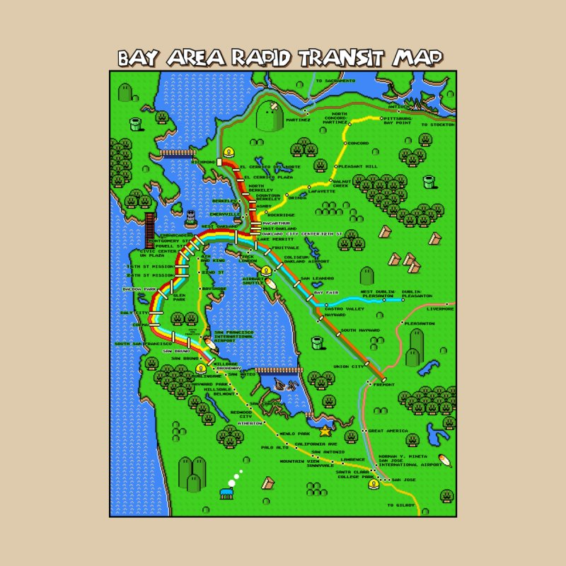 Bay Area Super Mario Map Home Fine Art Print by Mario Maps