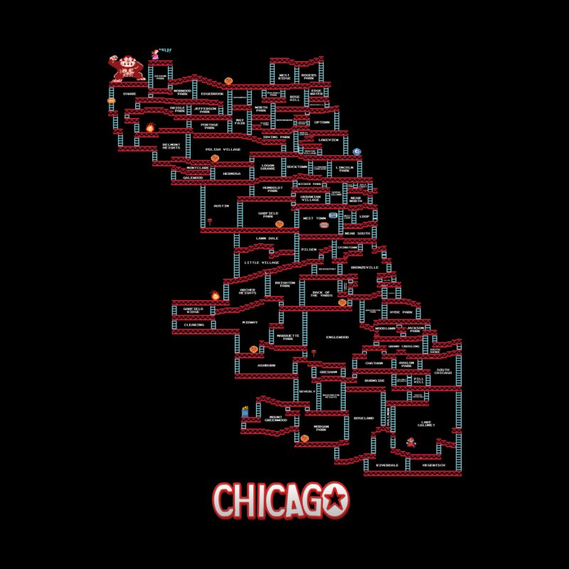 Chicago Donkey Kong Neighborhoods Home Fine Art Print by Mario Maps