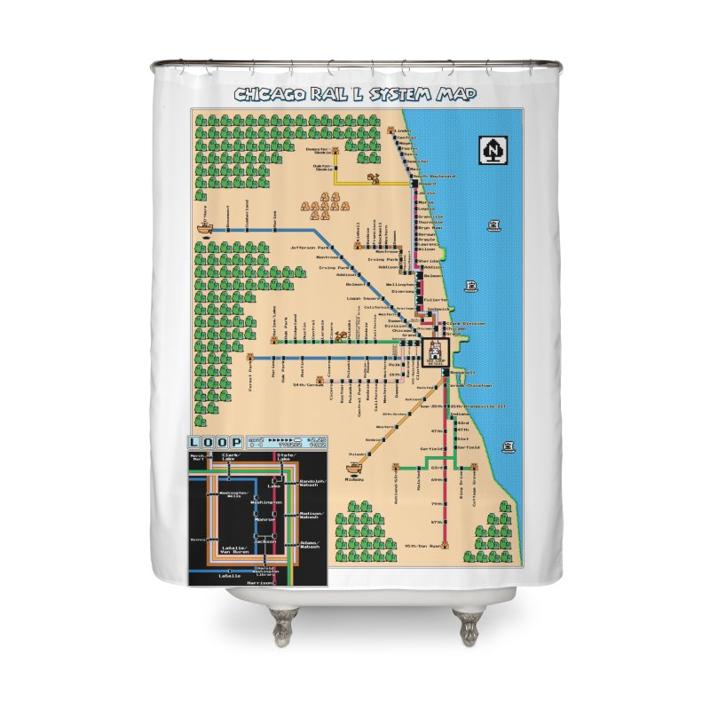 Chicago Super Mario 3 Map Home Shower Curtain by Mario Maps