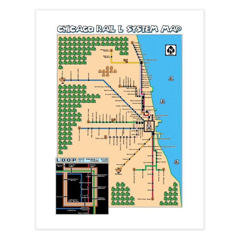 Chicago Super Mario 3 Map Home Fine Art Print by Mario Maps
