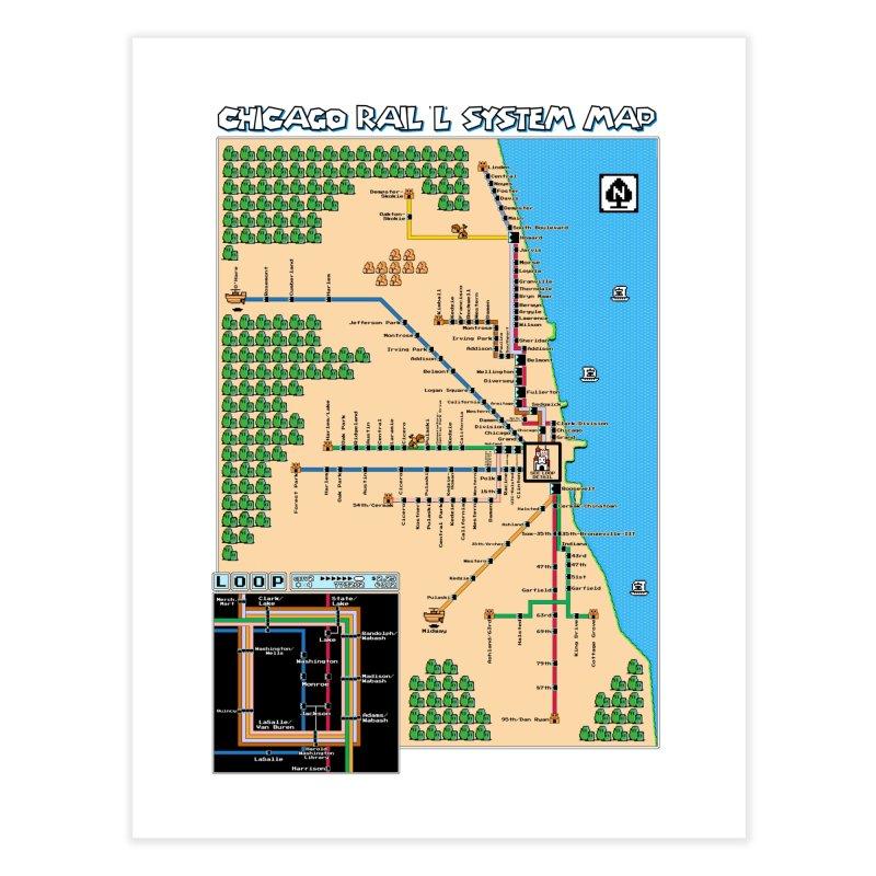 Chicago Super Mario 3 Map Home Fine Art Print by Mario Maps