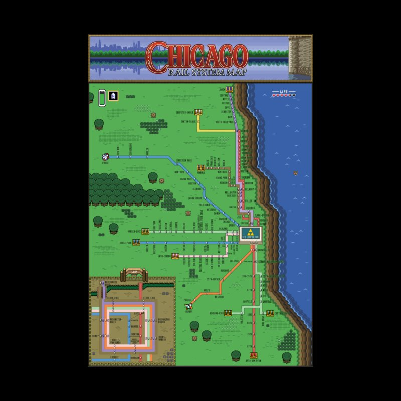Chicago Zelda Map Home Fine Art Print by Mario Maps