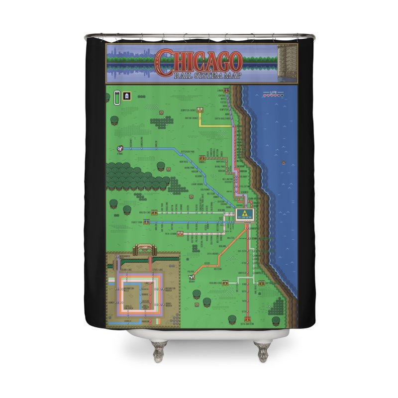 Chicago Zelda Map Home Shower Curtain by Mario Maps