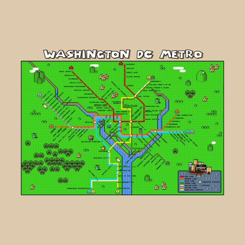 Washington DC Super Mario Metro Map Home Shower Curtain by Mario Maps