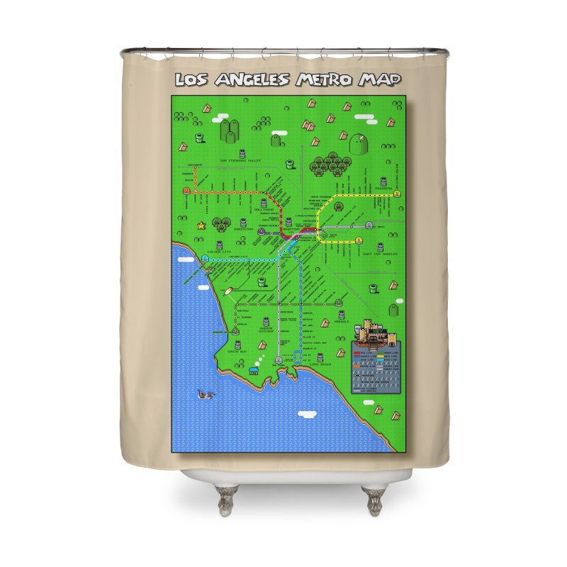 Los Angeles Super Mario World Home Shower Curtain by Mario Maps