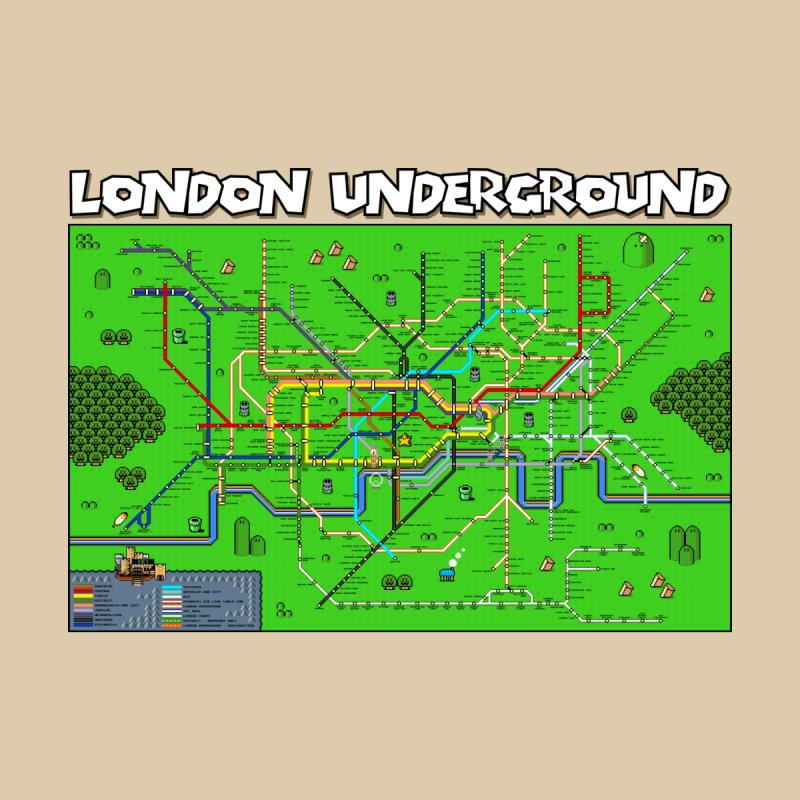 London Super Mario Map Home Fine Art Print by Mario Maps