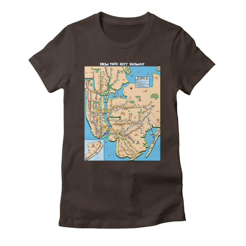 New York Super Mario 3 Women's Fitted T-Shirt by Mario Maps