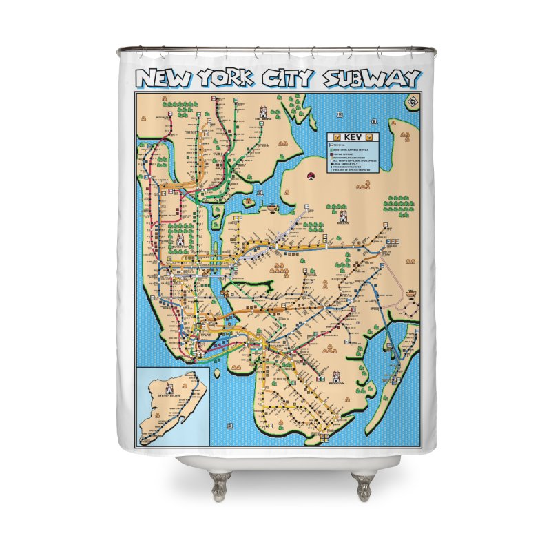 New York Super Mario 3 Home Shower Curtain by Mario Maps