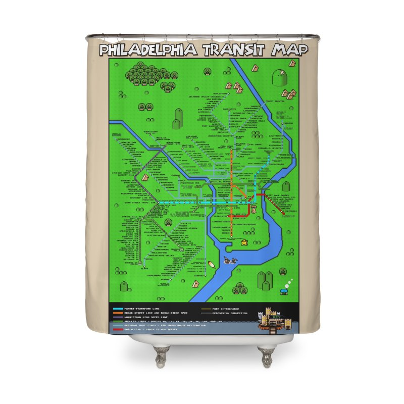 Philadelphia Super Mario World Home Shower Curtain by Mario Maps