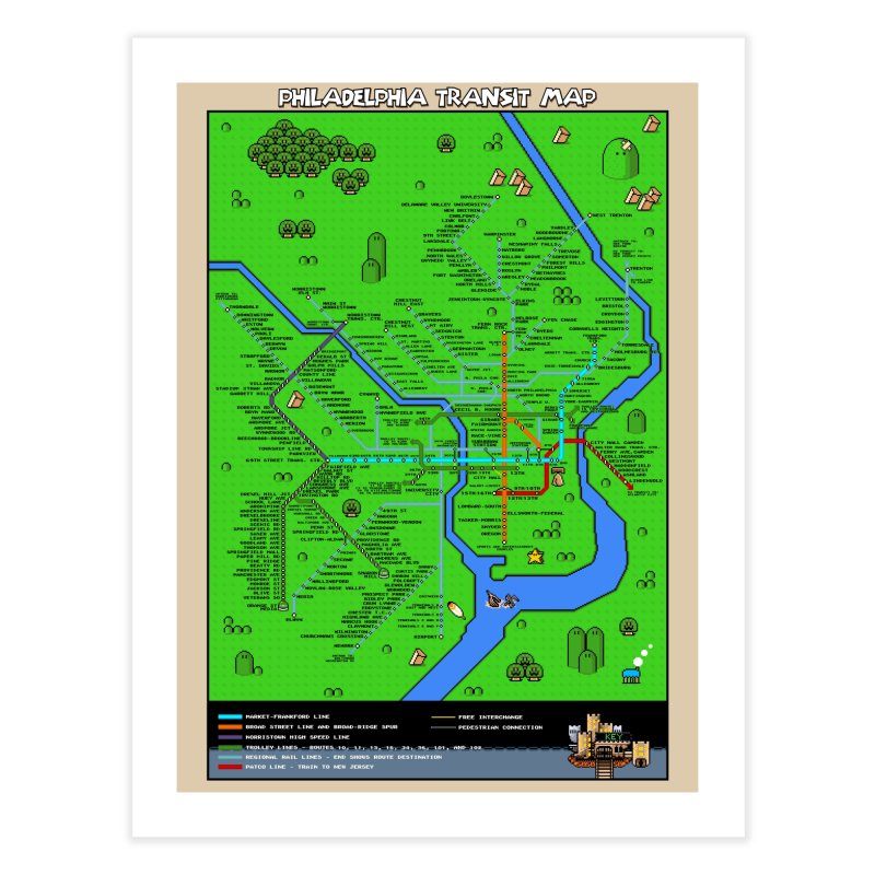 Philadelphia Super Mario World Home Fine Art Print by Mario Maps
