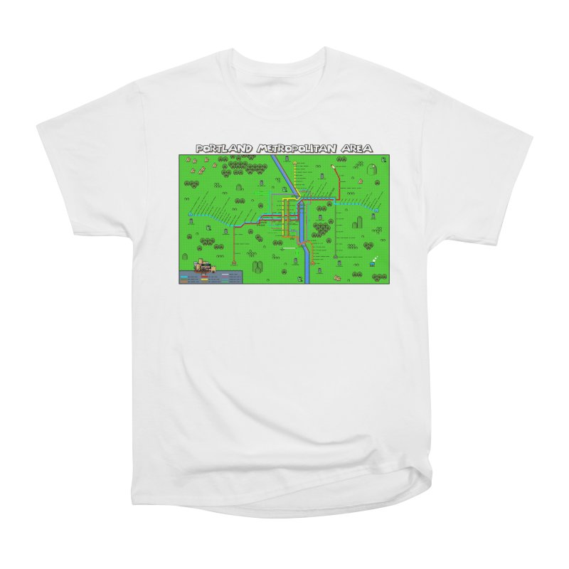 Portland Super Mario World Women's Heavyweight Unisex T-Shirt by Mario Maps