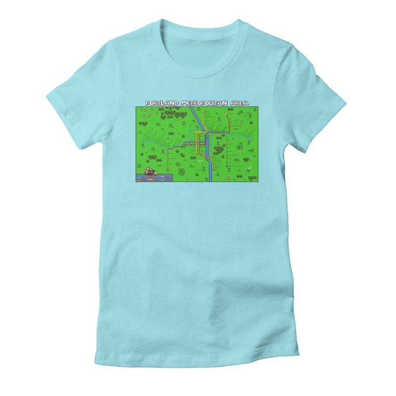 Portland Super Mario World Women's Fitted T-Shirt by Mario Maps