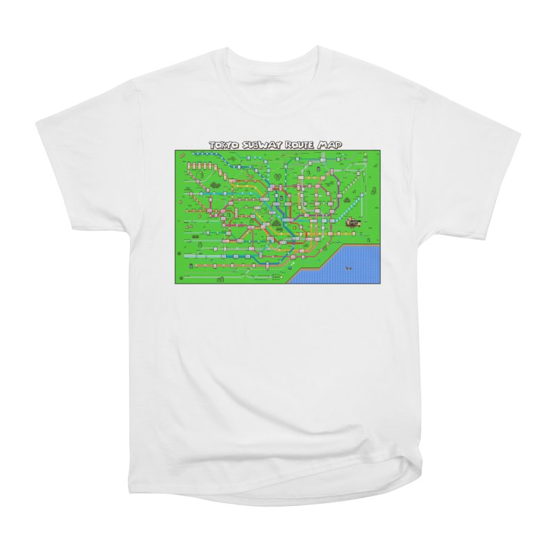 Tokyo Super Mario Map Men's Heavyweight T-Shirt by Mario Maps