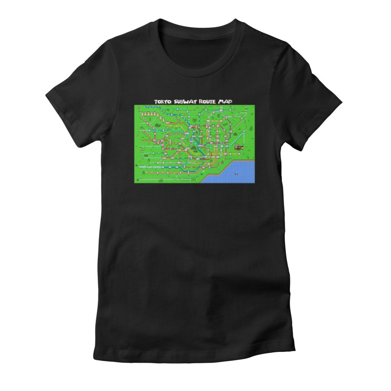 Tokyo Super Mario Map Women's Fitted T-Shirt by Mario Maps