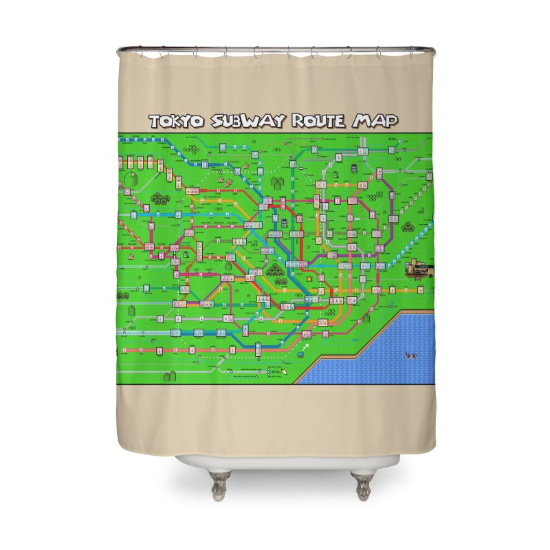 Tokyo Super Mario Map Home Shower Curtain by Mario Maps
