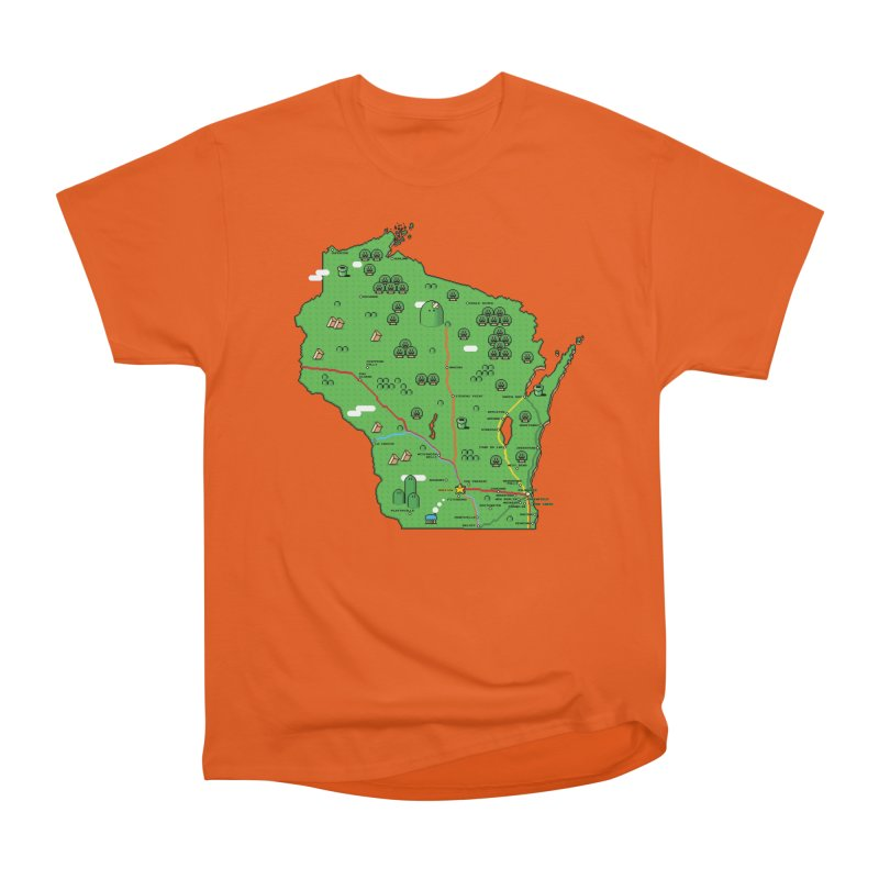 Wisconsin Super Mario Map Men's T-Shirt by Mario Maps